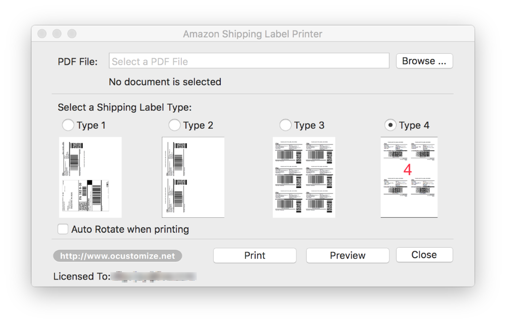 printing labels on a mac